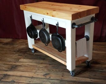 Kitchen Island Cart With Butcher Block Top And Black Steel Pipe Industrial  Hardware