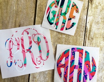 monogram sticker / monogram car decal / lilly monogram decal / lilly sticker / car decal / vinyl decal / vinyl monogram