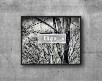 OLIVIA - Olivia Ave Street Sign - Name Sign - Photography Art Print