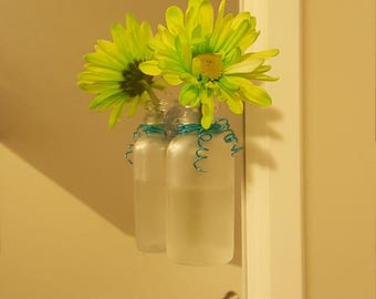 Decorative Mini Glass Vases/Bottles With Suction Cups - Put on Your Mirror or Window!
