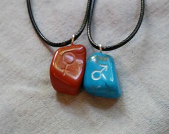 His And Hers Blue Howlite and Red Jasper set