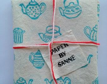 Tea towel teapots handprinted and handmade