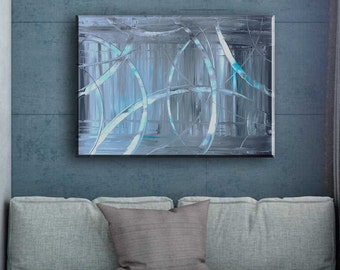 Turquoise abstract painting Gray abstract Gray painting Gray wall art Expressive painting on canvas Knife painting Loft art Modern art paint