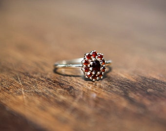 Antique Bohemian Garnet Ring Victorian Style Heirloom Gold Over 835 Silver