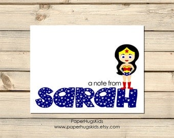 Superhero stationery, Superhero Note Cards, Kids Thank You Cards, Personalized Stationery, Kids Note Cards / Digital File