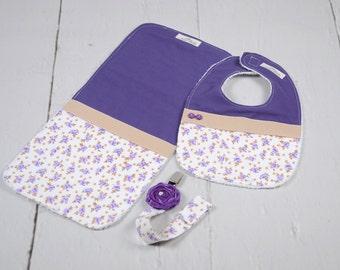 Baby Bib, Burp Cloth and Pacifier Clip Set, Purple Flower.