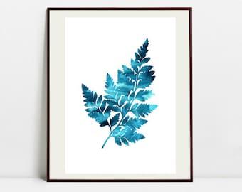 Fern Art Botanical Print , Leaf Watercolor Painting, Fern Blue Illustration, Digital Download Art Print