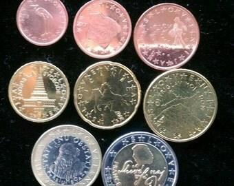Set of Euro Coins 2007 Slovenia 1 cent to 2 euro France Prešeren Lot UNC