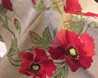 Hand embroidered poppies on linen