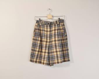 90s Plaid Shorts, 90s Wool Shorts, High Waist Shorts, Pleated Loose Wide Leg Shorts, Vintage Plaid Shorts, Winter Shorts, Long Plaid Shorts
