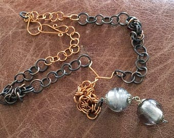 Mixed copper, glass bead with chain maille necklace