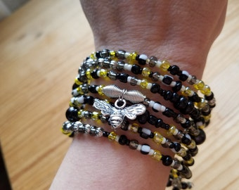 Womens Unique Layer Beaded Bracelet With Bee Charm