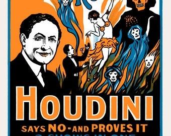 """1909 Harry Houdini - """"Do Spirits Return?"""" Advertising Poster Art Print 13"""" x 19"""""""
