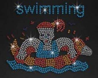 Swimming Girl Rhinestone Iron on T Shirt Design                             6CCR
