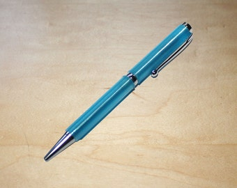 Shiny Chrome Translucent Blue Slimline 3d Printed Pen