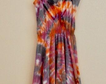 Women's medium orange, black and purple 3/4 length dress