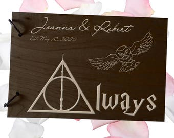 Wedding GuestBook Engraved Wood GuestBook Wedding Gift Personalized GuestBook Harry Potter GuestBook Owl GuestBook Rustic Guest Book Always