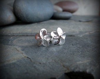 Plumeria earrings, sterling silver post earrings