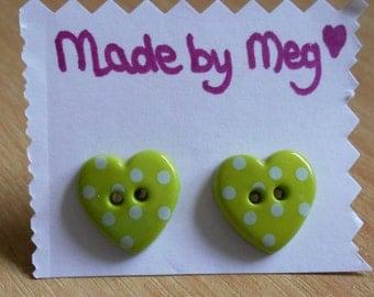 Green spotty resin heart stud earrings