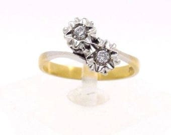 Exquisite Vintage Ladies Bicololr Ring with 18K Yellow and White Gold with Diamonds