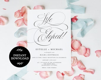 We Eloped! Elopement Editable pdf Template, INSTANT DOWNLOAD, Elopement Announcement, Wedding Elope Invitation Printable - Aster