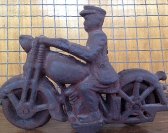 Vintage Cast Iron Motorcycle Cop