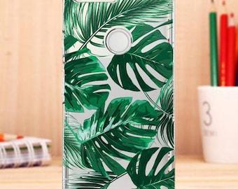 Leaves pixel case, pixel case, clear pixel case, palm, google pixel xl case, leaves case, Tropical pixel case,palm leaves, clear,silicone