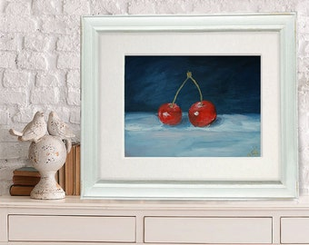 Two red cherries beautiful still life in the sustained style, still life red and grey color oil wall art, cherries still life oil art, art