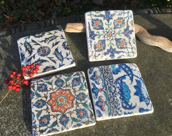 Iznik Turkish Tile Coasters- Turkish inspired tiles, stone coasters, Turkish Coasters, set of 4