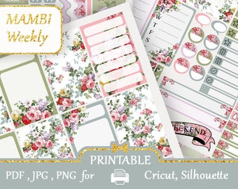 MAMBI Happy Planner stickers 2018 Blue Pink Stickers Kit Mambi Printable Happy Planner Floral Planner Stickers Vertical Happy Planner