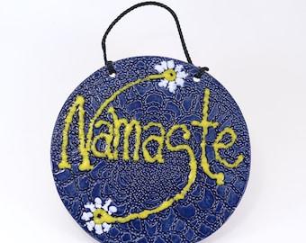 Blue Round Namaste Sign - Ceramic Yoga Gift - Hanging Inspirational Sign