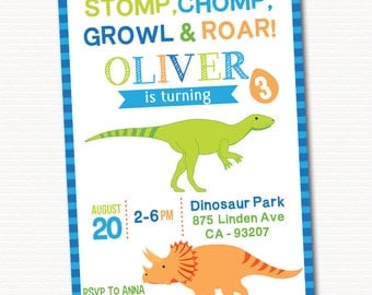 Dinosaur Invitation, Dinosaur Invite, Boy Birthday Invitation, Dinosaur Birthday Invitation, Dinosaur Party Invite, PRINTABLE