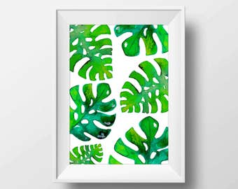 Monstera Leaf Print Botanical Wall Art Tropical Decor Green Plant Leaves Watercolor leaves Printable Art Watercolour Leaf Art Water color
