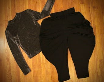 Vintage Black 90s MC Hammer Pants *Flat Rate Shipping* [Medium/Small] 24 inch waist (unstretched, elasticated) IMPERFECT: Warped waist band