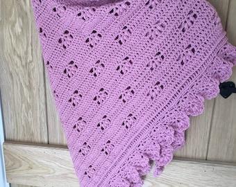 Shawl - wrap - pink shawl - pink wrap - Scarf - Pink scarf - lacy shawl - lacy wrap - pink lacy shawl