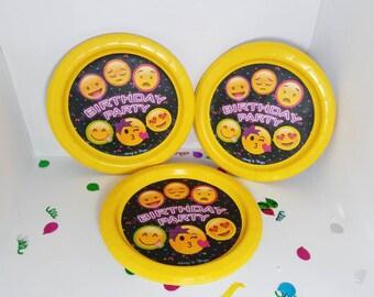 Emoji paper plates, birthday party decorations
