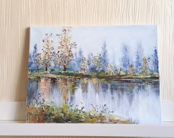 Lake Painting / Pond Painting on Canvas / Original Oil Painting on Canvas /