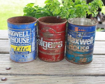 Coffee cans, Rusty can, rusty metal container, vintage, planter, garden décor, farmhouse décor, Texas ranch, old barn find