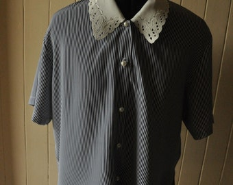 Striped Blouse with Lace Collar