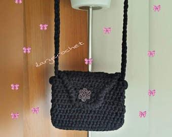 Long crochet shoulder bag