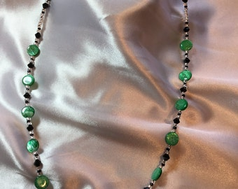 bright green and black necklace