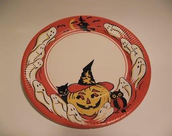"Vintage Halloween Paper Party plate 9"" round emphemera ghosts jack o lantern owl witch"