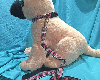 Zebra Minnie Mouse Collar/Leash Set