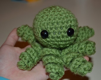 Cute Green Crochet Amigurumi Octopus