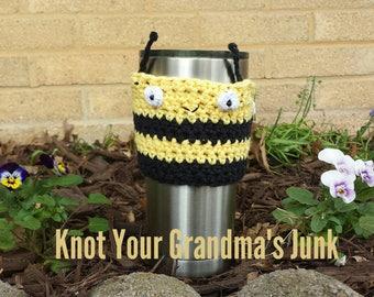 Bumble Bee Cup Cozy, Crochet Cup Cozy, Cup Cozy