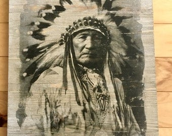 12x16 Handmade Photo Transfer Whitewashed Wood Art | Indian Chief