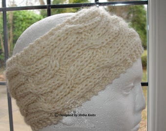 Cream Cabled Ear Warmer, Wool Ear Warmer, Cabled Ear Warmer, Cream Cabled Headband, Cream Wool Ear Warmer, Wool Knitted Ear Warmer
