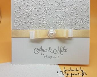 Embossed Handmade Wedding Invitation Card
