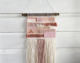 Woven wall hanging / blush pink, white and cream / handmade home decor