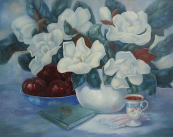 Magnolias & Apples, by Texas artist,Margaret Springer